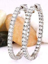 2.98 Carat Natural Diamond 14K White Gold Hoop Earrings