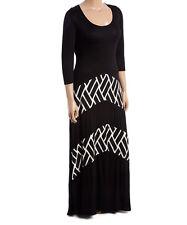 Plus Size UK 20 Ladies Maxi Long Dress Womens Black & White Geo-Stripe  #841