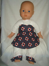"""Navy Top,Trousers & Lifebuoy Pinafore ,  Fits Baby Annabell /Born  16/18""""  Dolls"""