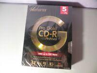Memorex Pro Gold CD-R Archival 5 PK 24k Gold Layer Brand New 52x 700 MB 80 MIn