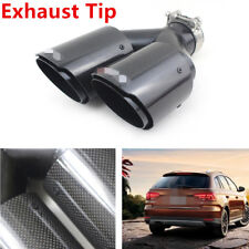 "2x 2.5""Gloss Black Carbon+Steel Excellent Exhaust Tip Dual Pipe Muffler L&R Tool"