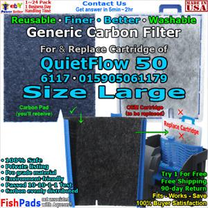 For Aqueon QuietFlow 50,6117,015905060820 Water Pump Filter Compatible CarbonPad