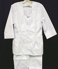 White Nursing Pant Suit 8 Uniform Nurses 2 Piece Set Square Neck USA Blend New