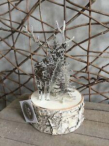 Heaven Sends silver metal reindeer on a wooden log tea light holder 17cm