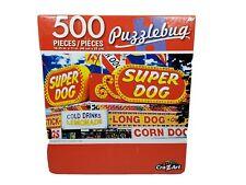 """Puzzlebug 500 Piece Puzzle """"AMUSEMENT PARK CONCESSION SIGNS""""  18.25""""  X 11"""" New"""