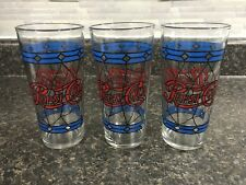Lot of 3 Vintage Pepsi Red & Blue Stained Glass Design Drinking Glasses