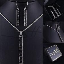 Edel-Schmuckset: Halskette+Ohrringe *Stab* Weißgold pl Swarovski Elements +Etui