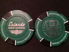 "Harley Poker Chip (DARK Green & Black) ""Historic Factory"" Orlando, Florida"
