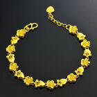 Bracelet Chain Women Golden Heart Flower 24K Yellow Gold Filled Fashion Bangle