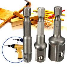 """3Pcs Socket Adapter Drill BIts Set Hex Shank 1/4"""" 3/8"""" 1/2"""" Impact Driver Tool"""