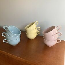 Russel Wright Iroquois Cups - Pastel Pink Blue Yellow - 8 oz Mug
