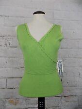 Briolette Sz Small Green Stretchy Sleeveless Silk Blend V-Neck Knit Top MSRP $98