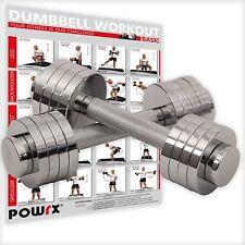 Kurzhantelset Chrom inkl. Workout I Kurzhanteln verstellbar I 2x5kg oder 2x10kg