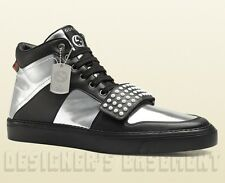 GUCCI Mens 9.5G silver/black BOARD Limited Edition DOG TAG High Top sneakers NIB