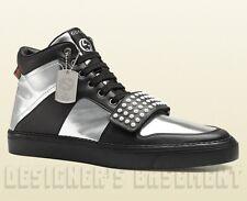 GUCCI Mens 11G silver/black BOARD Limited Edition DOG TAG High Top sneakers NIB
