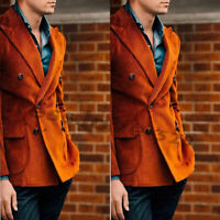Orange Corduroy Blazer Suits Men Double-breasted Peak Lapel Formal Wear Tuxedos