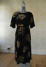 ZARA black & yellow floral midi dress with lace-up back detail L UK 12-14