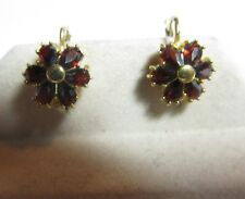 VINTAGE 18K GOLD NATURAL GARNET EARRINGS 1.20 CTS TOTAL WEIGHT