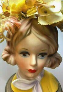 "Vintage Relpo Head Vase Lady with Scarf  5.5"" Original Flowers"