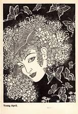"1944 Original Don Blanding Art Deco Vintage Print ""Young April"""