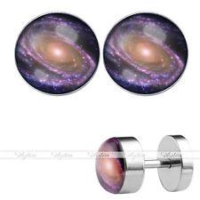 16G Bars Plug Ear Stud Earrings Mens Pair 8mm Universe Nebula Fake Cheater Steel