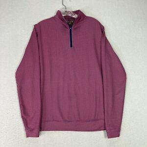 Men's Peter Millar Element E4 Wicking 1/4 Zip Golf Pullover Sweater S Pink L/S
