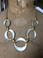 ALEXIS BITTAR GOLD METAL & WHITE SILVER LUCITE LINK NECKLACE