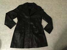 Banana Republic Black Genuine Leather Jacket Trench Coat Size XL Women 3 button