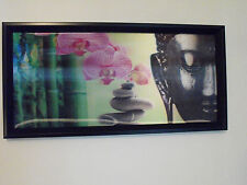 BUDDHA  PRINT / CANVAS / PICTURE 3D PINK ORCHID AND BUDDHA ORIENTAL 3D PICTURE