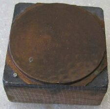 "COPPER AND WOOD PRINTERS BLOCK OF A DUNLOP GOLD CUP GOLF BALL 1 3/4"" SQUARE"