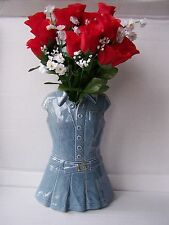 LG ceramic blue denim dress novelty vase planter dressing table ornament