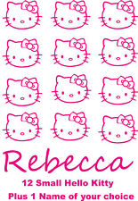 12 Hello Kitty Decal Vinyl  Decal stickers + 1 Name of choice  for girls bedroom