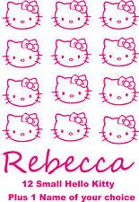 12 Hello Kitty Autocollant vinyl decal Stickers + 1 Nom De Choix Pour Les Filles de chambre à coucher
