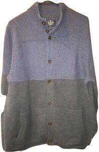NWT Nat Nast Sweater Button Up Thick Wool 2 Tone Navy Blue Cadet  $225 Pockets L