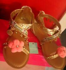 BNWTGirls Monsoon UK 12 Gold Gladiator charm pom pom sandals NEW OUT THIS SEASON