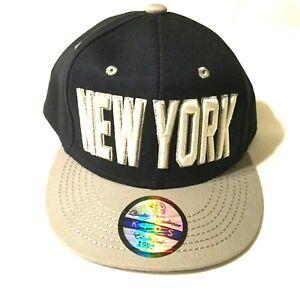 NEW YORK DARK BLUE & GRAY KIDS BASEBALL HAT Embroidered Adjustable Snapback Cap