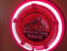 RCA Victor Phonograph Nipper Dog Advertising Man Cave Neon Wall Clock Sign