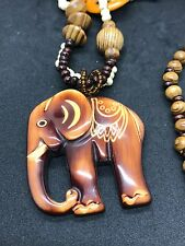 """African Elephant Wooden Large Statement 18"""" Necklace"""