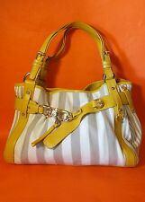 FRANCESCO BIASIA Cream Beige Yellow Canvas Leather Handbag Satchel Purse