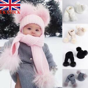 UK Knitted Beanie Cap Scarf Set Toddler Kids Baby Boy Girl Winter Pom Bobble Hat