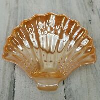 Vintage MCM Anchor Hocking Fire King Peach Lustre Ware Sea Shell Candy Nut Dish