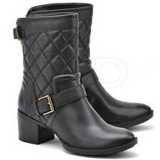 Clarks Narrative Movie Stage Ladies Black Quilted Leather Biker Ankle Boots 8D