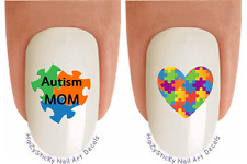 """Nail Art #6506 """"Autism Awareness MOM Puzzle"""" Waterslide Nail Decals Transfers"""