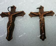 15pcs JESUS BROWN CROSS PENDANTS WHOLESALE JEWELRY LOTS RETRO WITH IRON HANGER