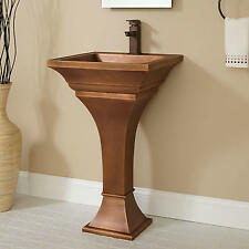 Gentil Signature Hardware Square Smooth Copper Pedestal Sink