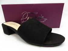 Fergie Jane Doe Mule Slip On Open Toe BLACK Shoe WOMENS Sz 7.5 M PRE OWNED D6585