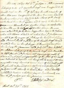 1783, Captain Invalid Regiment, letter signed, re: death of soldier, captured..