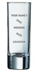 2oz Shot Glass With Personalised Stag Weekend Design