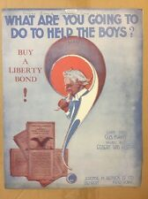 Vintage WWI Sheet Music 1918 WHAT ARE YOU GOING TO DO TO HELP THE BOYS Uncle Sam