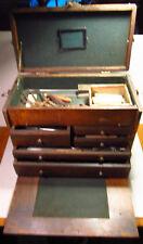 Machinist Wood Tool Box Chocked Full of Cool Tools Calper File Hammer Gauges Old